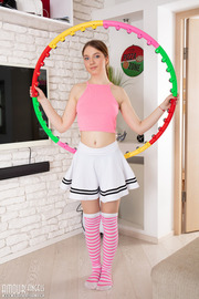 Model with a hula hoop